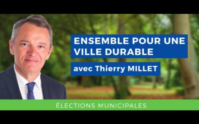 L'affiche de campagne du candidat Les Républicains Thierry Millet aux élections municipales de la ville de Mérignac (Gironde). (Crédit : Facebook / Thierry Millet 2020)