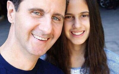 Le dictateur syrien Basher Assad et sa fille Zein (Capture d'écran : Twitter)