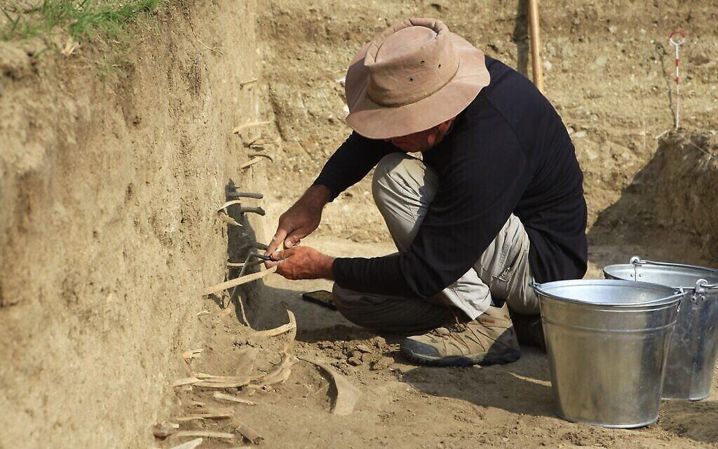 Un homme fait des fouilles sur la ligne nord de la grande muraille de Chine (Autorisation : Université hébraïque)