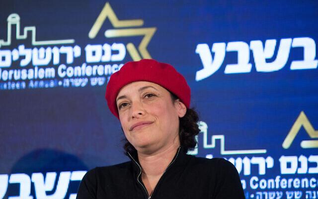 Tehila Friedman, de Kakhol lavan, lors d'une conférence à Jérusalem, le 11 février 2019 (Crédit :  Noam Revkin Fenton/Flash90)