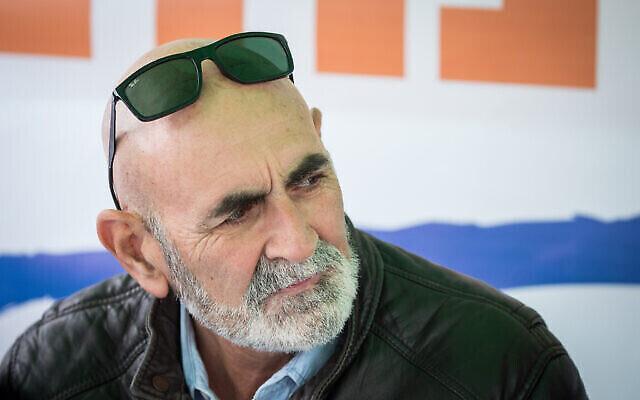 David Elhayani, chef du Conseil régional de la vallée du Jourdain, vu sous la tente de protestation des chefs des conseils de Judée et de Samarie et de la vallée du Jourdain en faveur de la souveraineté, devant le bureau du Premier ministre à Jérusalem, le 4 février 2020. (Yonatan Sindel/Flash90)