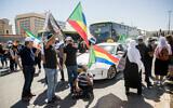 Les membres de la communauté druze manifestent pour obtenir le soutien financier promis par le gouvernement devant les bureaux du ministère des Affaires étrangères de Jérusalem, le 31 mai 2020 (Crédit : Yonatan Sindel/Flash90)
