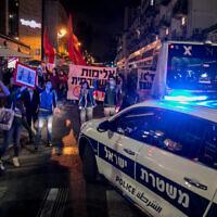 Une manifestation à Jérusalem contre les meurtres policiers de Iyad Halak et George Floyd, le 2 juin 2020. (Olivier Fitoussi/Flash90)