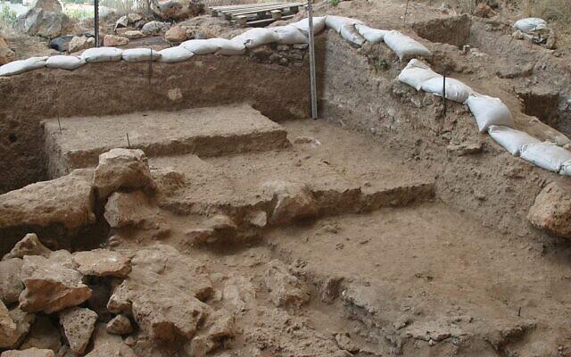 Zone de fouilles de la grotte de Misliya, où l'on a découvert une mâchoire complète avec des dents datant de 177 000 à 194 000 ans. (Mina Weinstein-Evron, Université de Haïfa)