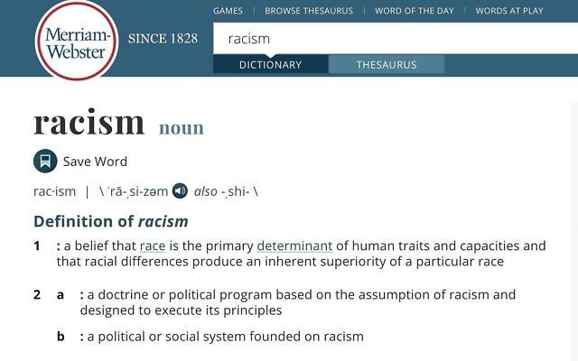 Capture d'écran de la définition du terme «racisme» du dictionnaire Merriam-Webster, le 10 juin 2020. (Crédit : Merriam-Webster)