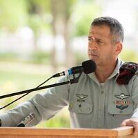 Le chef d'état-major de l'armée israélienne, Aviv Kohavi, s'exprime lors d'une cérémonie au siège de l'armée à la Kirya, à Tel Aviv, le 18 juin 2020. (Armée israélienne)