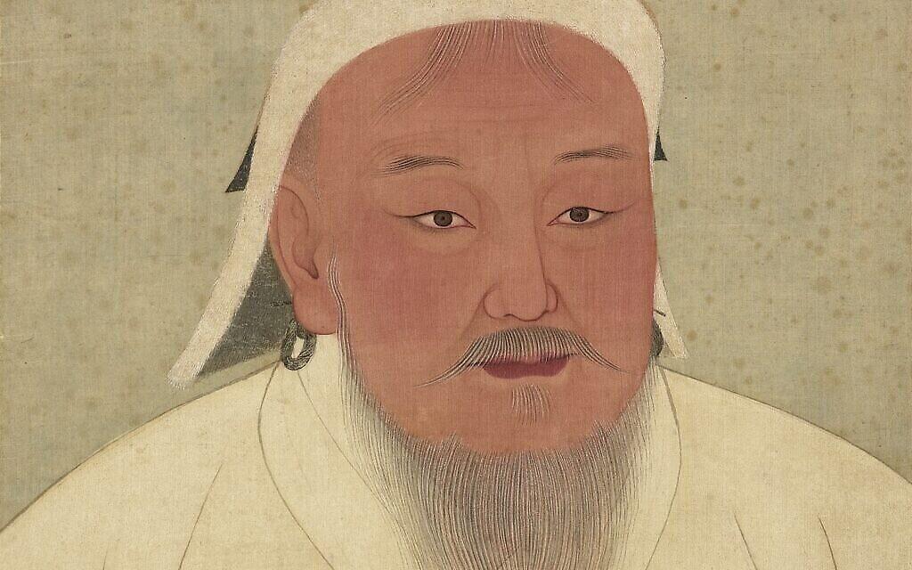 Portrait de Genghis Khan, dans un aobum dépeignant les empereurs de   Yuan, dans le musée du palais national de Taipei (Crédit : Domaine public via Wikipedia)