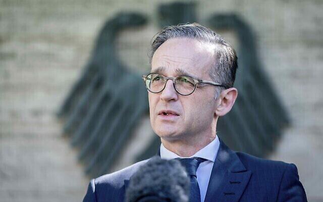 Heiko Maas, le ministre allemand des Affaires étrangères parle aux médias au ministère des Affaires étrangères à Berlin en Allemagne le 3 juin 2020. (Crédit : Kay Nietfeld/dpa via AP)