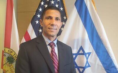 Ishmael Khaldi au consulat israélien à Miami. (Autorisation : consulat israélien)