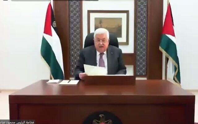 Le président de l'Autorité palestinienne Mahmoud Abbas s'adresse au Parlement arabe, une branche de la Ligue arabe, le mercredi 24 juin 2020. (Crédit : WAFA)
