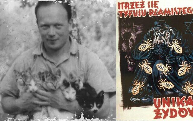 Le médecin polonais Eugène Lazowski et l'affiche nazie sur les Juifs porteurs du typhus. (Domaine public)