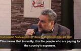Le député iranien Heshmatollah Falahatpisheh durant son interview avec l'agence semi-officielle Etemad. (Crédit : capture d'écran YouTube / People's Mojahedin Organization of Iran - MEK IRAN)