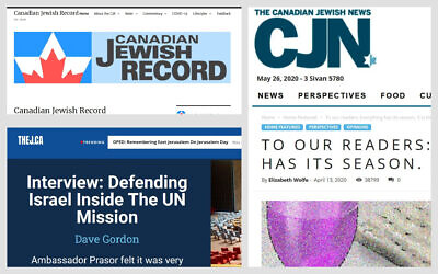 De gauche à droite : captures écran du  Canadian Jewish Record, The Canadian Jewish News, and TheJ.ca.