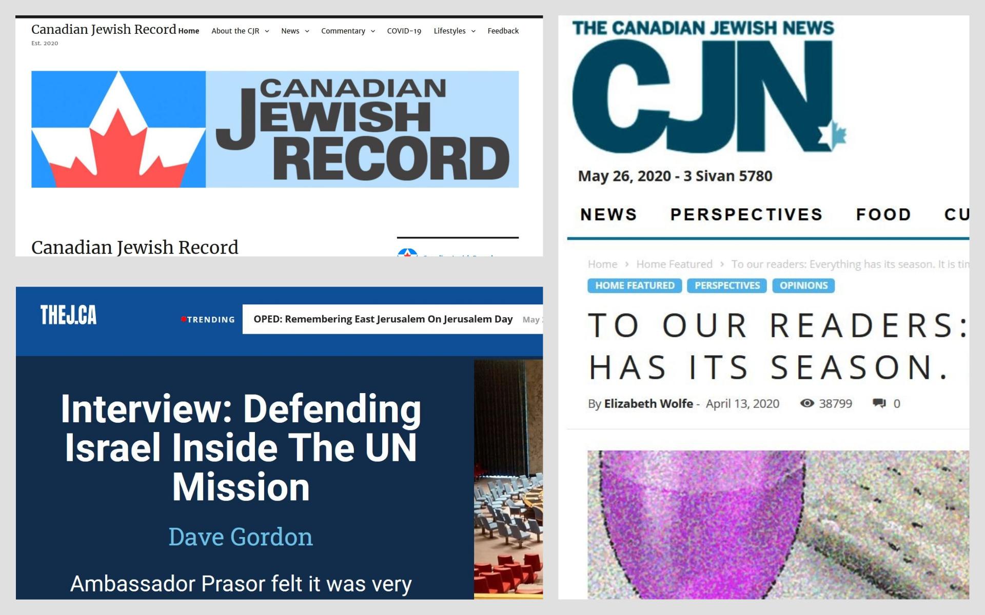 De gauche à droite : captures écran du  Canadian Jewish Record, The Canadian Jewish News, and TheJ.ca.