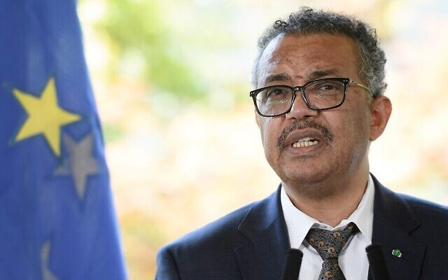 Le Directeur général de l'Organisation mondiale de la santé (OMS), Tedros Adhanom Ghebreyesus, prend la parole lors d'une conférence de presse au siège de l'Organisation mondiale de la santé à Genève, le 25 juin 2020. (Fabrice Coffrini / AFP)