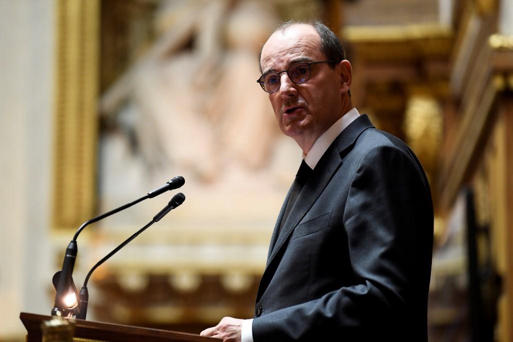 Le Premier ministre français Jean Castex prononce son discours de politique générale au Sénat, à Paris, le 16 juillet 2020. (Crédit : Bertrand GUAY / AFP)
