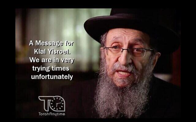 Rabbi Shmuel Kamenetsky soutient ma réelection de Donald Trump dans une interview avec Mishpacha. (Capture écran / YouTube via JTA)