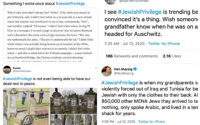 Des exemples de messages postés avec le hashtag #JewishPrivilege, en réponse à des tweets antisémites. (Twitter)