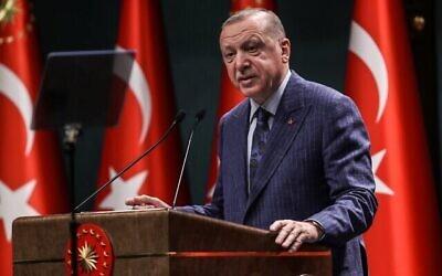 Le président turc Recep Tayyip Erdogan s'exprime lors d'une conférence de presse au complexe présidentiel d'Ankara, le 29 juin 2020. (Crédit : Adem ALTAN / AFP)