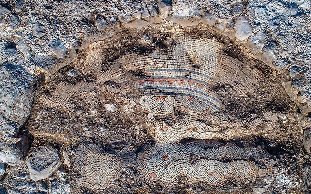 Sol en mosaïque d'une église de 1 300 ans dans le village de Kfar Kama, près du Mont Tabor. (Alex Wiegmann, Autorité israélienne des Antiquités)