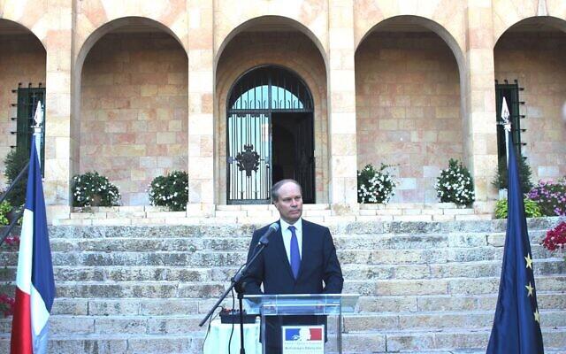 René Troccaz lors de sa prise de fonctions en tant que Consul général de France à Jérusalem, le 24 septembre 2019. (Crédit : Photo officielle du Consulat de France)