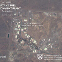 Une image satellite de Planet Labs Inc. qui a été annotée par des experts du James Martin Center for Nonproliferation Studies du Middlebury Institute of International Studies montre un bâtiment endommagé après un incendie et une explosion sur le site nucléaire iranien de Natanz, le 3 juillet 2020. (Planet Labs Inc., James Martin Center for Nonproliferation Studies at Middlebury Institute of International Studies via AP)