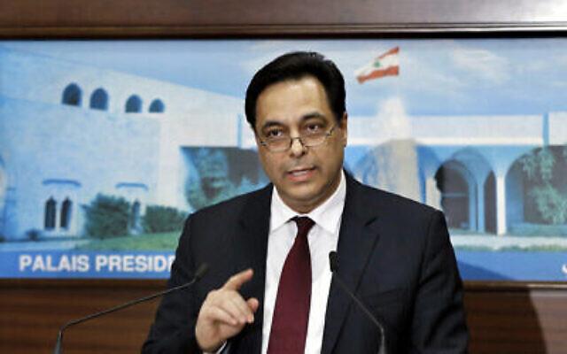 Le Premier ministre libanais Hassan Diab lors d'une conférence de presse après l'annonce de son gouvernement, au Palais présidentiel à Baabda, à l'est de Beyrouth, Liban, le 21 janvier 2020. (AP/Bilal Hussein)