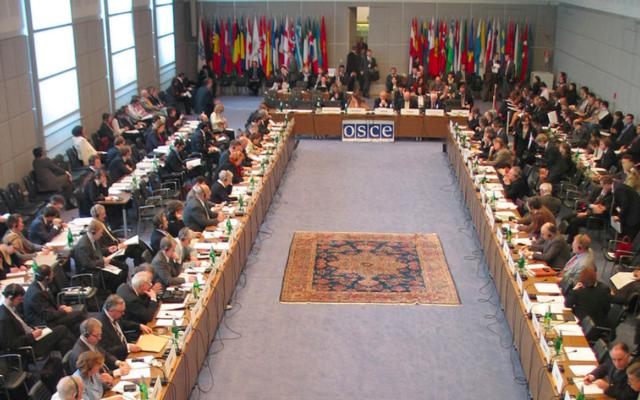 Réunion du Conseil permanent de l'Organisation pour la sécurité et la coopération en Europe, à laHofburg, àVienne, en 2005. (CC BY-SA 3.0)