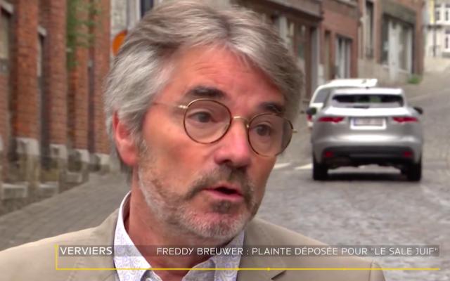Freddy Breuwer, échevin (magistrat public) de la ville de Verviers, en Belgique. (Crédit : Capture d'écran Vedia)