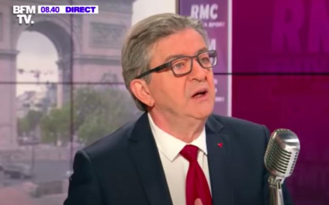 """Jean-Luc Mélenchon ce mercredi matin, invité de l'émission """"Bourdin Direct"""" diffusée sur BFMTV etla radio RMC. (Crédit : capture d'écran BFMTV)"""