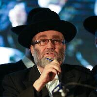 Le député Moshe Gafni s'exprime lors d'un rassemblement du parti Yahadout HaTorah, le 3 avril 2019. (David Cohen/ Flash90)