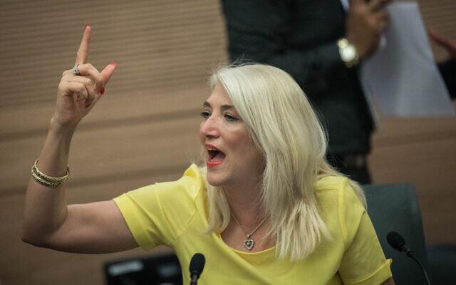 Osnat Mark lors d'une réunion de commission de la Knesset, le 21 mai 2019. (Yonatan Sindel/Flash90)