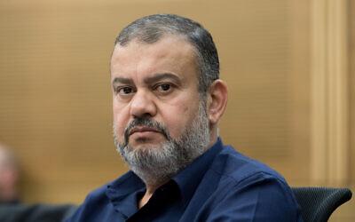 Le député Walid Taha à la Knesset, le 19 novembre 2019 (Crédit : Olivier Fitoussi/Flash90)