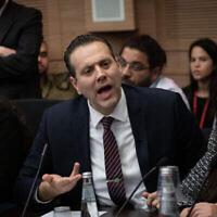 Le député Miki Zohar lors d'une réunion de la commission des arrangements à la Knesset, le 13 janvier 2020. (Hadas Parush/Flash90)