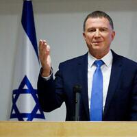 Le ministre de la Santé Yuli Edelstein lors d'une conférence de presse sur le coronavirus au ministère de la Santé de Jérusalem, le 6 juillet 2020. (Crédit: Olivier Fitoussi/Flash90)