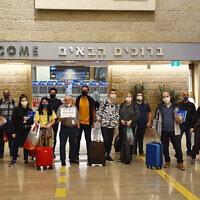 Un groupe de 23 Brésiliens immigrant en Israël via l'Ethiopie, au mois de mai (Crédit : ONG Olim do Brasil via JTA)