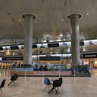 Le hall d'arrivée vide de l'aéroport Ben Gurion, le 12 juin 2020. (Photo par Olivier Fitoussi/Flash90)