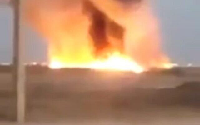 Des images d'une explosion annoncée dans un pipeline de pétrole dans le sud de l'Iran, le 18 juillet 2020. (Capture d'écran)