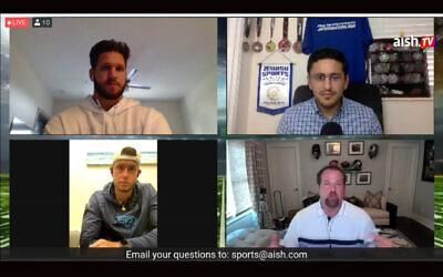 Des joueurs juifs de football ont participé à une conversation en ligne le 12 juillet 2013. Dans le sens des aiguilles d'une montre à partir d'en haut à gauche :  Anthony Firkser, l'organisateur de la  conversation Michael Neuman, Geoff Schwartz et Greg Joseph. (Capture d'un événement virtuel)