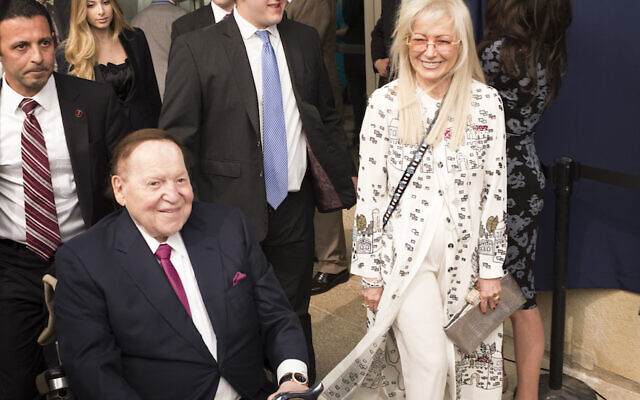 JERUSALEM, ISRAEL - MAY 14:  (ISRAEL OUT)  Chairman and chief executive officer of the Las Vegas Sands Corporation Sheldon Adelson (L) and his wife Miriam  (R) arrive to the opening of the US embassy in Jerusalem on May 14, 2018 in Jerusalem, Israel. US President Donald J. Trump's administration officially transfered the ambassador's offices to the consulate building and temporarily use it as the new US Embassy in Jerusalem. Trump in December last year recognized Jerusalem as Israel's capital and announced an embassy move from Tel Aviv, prompting protests in the occupied Palestinian territories and several Muslim-majority countries.  (Photo by Lior Mizrahi/Getty Images)