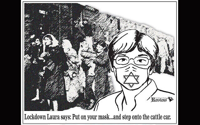 Un dessin satirique, publié le 3 juillet 2020 par l'Anderson County Review, critique la décision de la gouverneure du Kansas Laura Kelly d'imposer le port du masque aux habitants de l'État. (The Anderson County Review Facebook page via JTA)