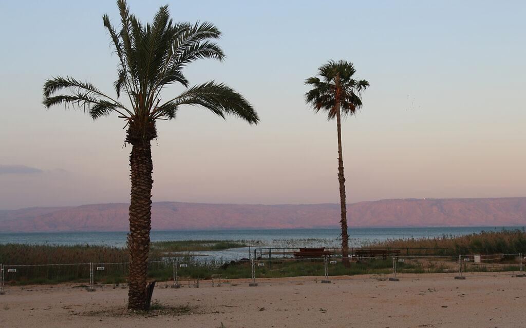 Un crépuscule sur le lac de Tibériade à la chambre d'hôtes Magdala, dans le nord d'Israël, sur le sentier de randonnée Eli Cohen (Crédit : Shmuel Bar-Am)