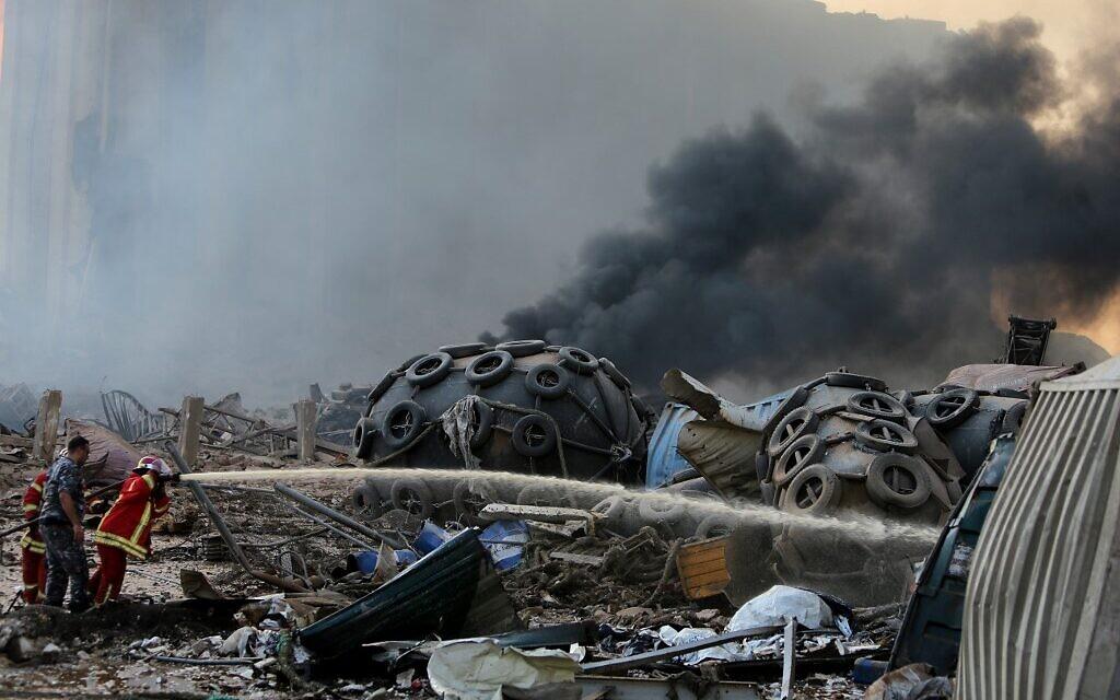 La scène d'une explosion dans le port de Beyrouth, le 4 août 2020. (Crédit : STR / AFP)