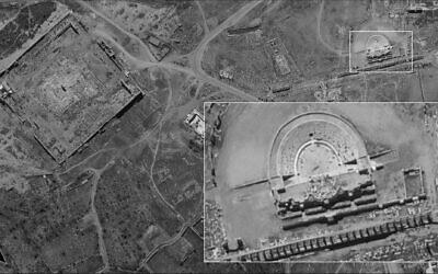 Photographie de l'amphithéâtre romain de Palmyre, en Syrie, prise par le satellite espion israélien Ofek 16, diffusée par le ministère de la Défense le 24 août 2020. (Ministère de la Défense)
