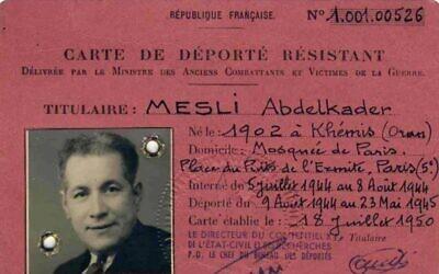 La carte de déporté résistant d'Abdelkader Mesli. (Crédit : famille Mesli)