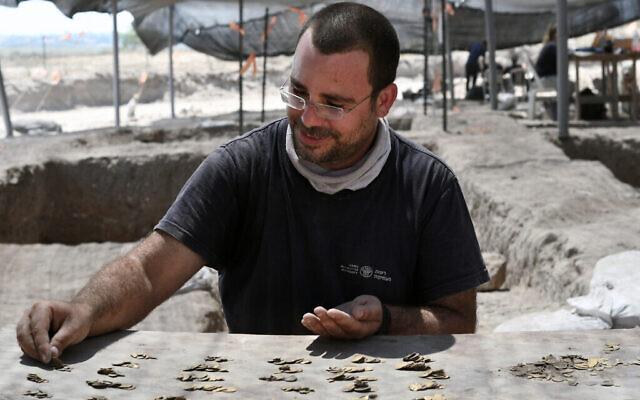 Shahar Krispin, expert numismate de l'Autorité israélienne des antiquités, compte les pièces d'or. (Crédit : Yoli Schwartz, Israel Antiquities Authority)