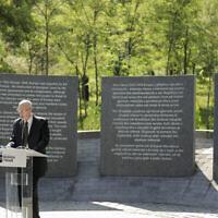 L'ambassadeur d'Israël en Albanie Noah Gal Gendler s'exprime lros de l'inauguration d'un mémorial à Tirana, le 9 juillet 2020. Le mémorial dédié aux six millions de Juifs assassinés pendant la Seconde Guerre mondiale et aux Albanais les ayant protégés des nazis a vu le jour dans la capitale albanaise. (Crédit : Xhulio Hajdari /Tirana City Hall via AP)