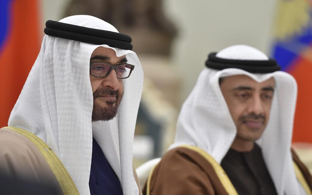 Le cheikh Mohammed ben Zayed al-Nahyan, prince héritier d'Abou Dhabi et commandant en chef adjoint des forces armées des Émirats arabes unis, au Kremlin à Moscou, le 24 mars 2016. (Crédit : Alexander Nemenov / Pool photo via AP)