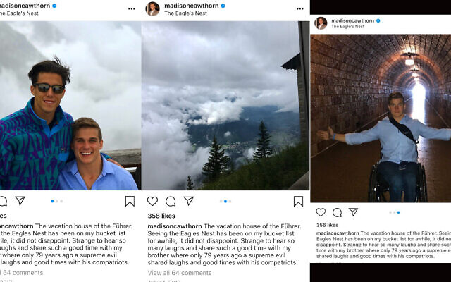 Capture d'écran du compte Instagram de Madison Cawthorn avec les photos de vacances passées en 2017 dans une résidence de vacances nazie qui avait été fréquemment utilisée par Hitler (Capture d'écran : Twitter via JTA)