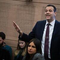 Le député Likud Miki Zohar réagit lors d'une réunion à la Knesset, le 13 janvier 2020. (Hadas Parush/Flash90)